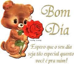 mensagem de bom dia especial urso e rosa