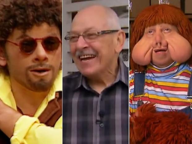 Orival Pessini ao lado dos seus personagens de maior sucesso, Patropi e Fofão (Foto: Reprodução/TV Globo)