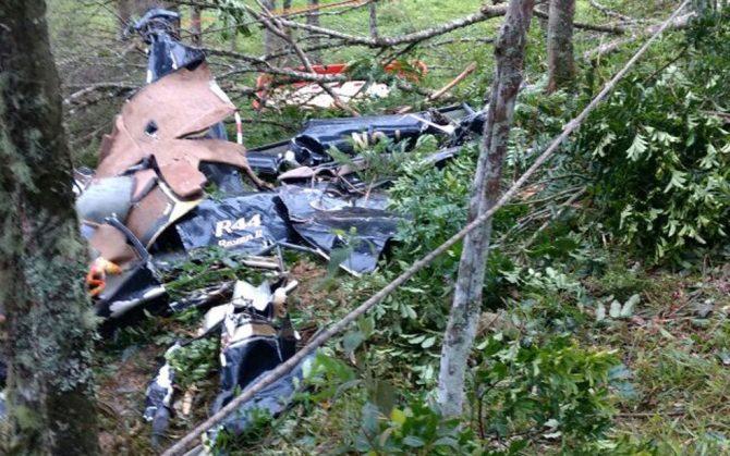 Imagens dos destroços do helicóptero que caiu em São Lourenço da Serra, matando 4 pessoas (Foto: Divulgação/Corpo de Bombeiros)